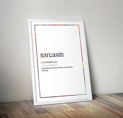 Sarcasm Definition Print, Home Decor, Minimalist Poster, Wall Art, Poster gift