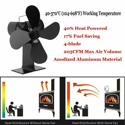 4 Blades Heat Powered Wood Stove Fan 203CFM Eco Fans Fireplace Wood Burning  CE