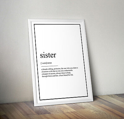 Sister Definition Print, Home Decor, Minimalist Poster, Wall Art, Poster gift