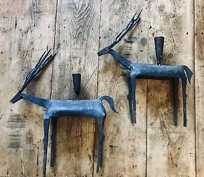 Pair of 2 Wrought Iron Deer/Long-horn Candle Holders/Rustic/Patina/Folk Art/Prim