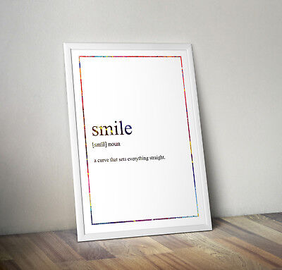 Smile Definition Print, Home Decor, Minimalist Poster, Wall Art, Poster gift