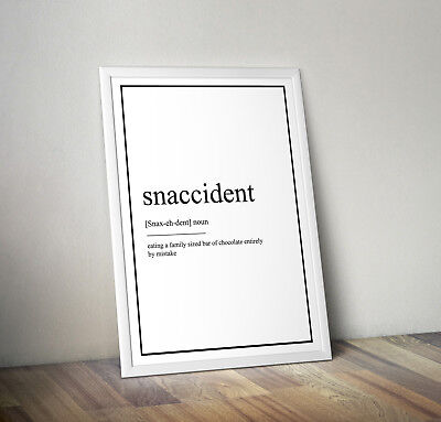 Snaccident Definition Print, Home Decor, Minimalist Poster, Wall Art, Poster