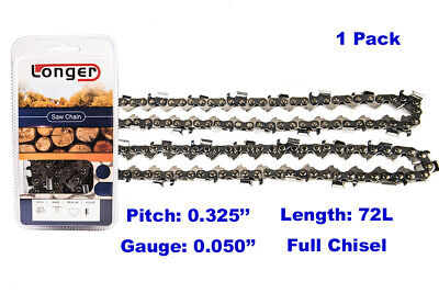 "18-Inch Full Chisel  72 Drive Links Chainsaw Chain .325"" Pitch .050"" Gauge"