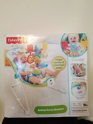 NEW Fisher-Price Animal Party Bouncer Vibrating Baby Infant Chair