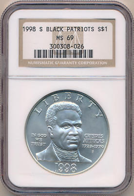 1998 S Black Patriots Commemorative Silver Dollar. NGC MS69