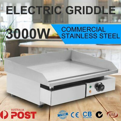Commercial 3000W Electric Griddle Plate BBQ Hot Grill Plate 304 Stainless St AUS