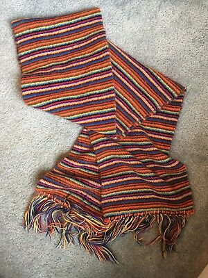 "Vintage Autumn Winter Scarf 1970S 90"" Super Long Multicolor"