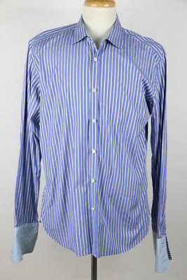 8bc041c07b565 Ted Baker Blue Striped Long Sleeve French Cuff Button-Down Dress Shirt 16.5