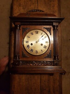 Antique   Mantle Clock Architectural Oak Case