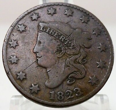 1823 matron head large cent, 3 over 2, #66718