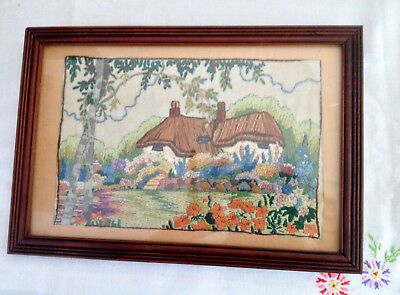 Vintage Needlepoint Silk Picture Of Country Cottage And Garden