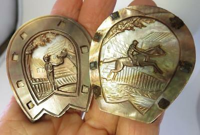 2 Pc Lot Of Equestrian Horse Jockey Antique Mother Of Pearl Cameo Panels
