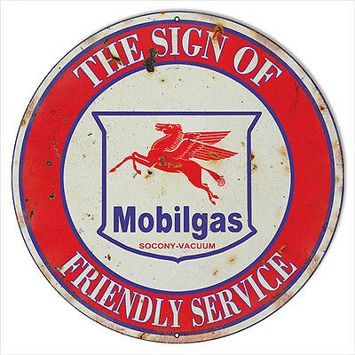 Large Reproduction Mobilgas Friendly Service Motor Oil Sign 18 Round