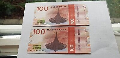 2  Consecutive serial numbers   100 kr 2016  Kv UNC Norway