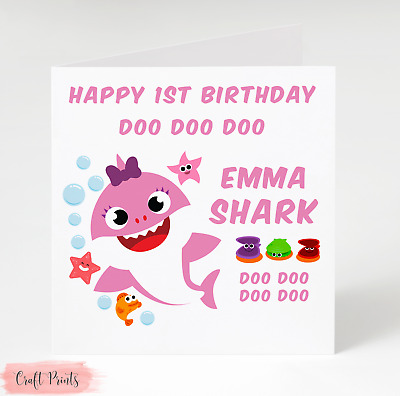 Baby Shark Doo Doo Pink Personalised Birthday Card - daughter, granddaughter etc