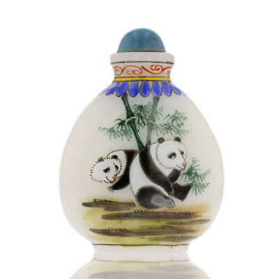 Antique Chinese White Glass Painted Snuff Bottle. Panda, Snuff Spoon. 882180