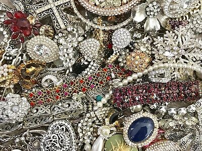 Large Vintage To Now Rhinestone Jewelry Lot 3+ Lbs Estate Find Wear Untested Rs1