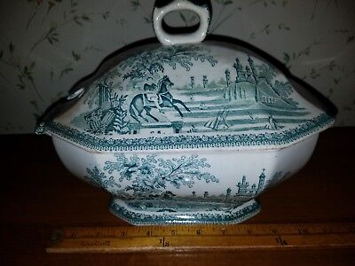 CA 1870s Estatua Fabrica Sacavem  Tureen BOY PRINCE ON HORSE & CASTLE