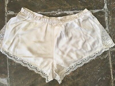 M&S Marks Spencer silk shorts knickers underpants lace french vintage style 14