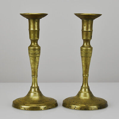 Antique French Brass or Bronze Candlesticks Pair of Candle Holders Early 19thC