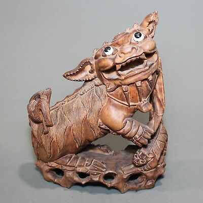 Antique Chinese Hand Carved Exotic Feng shui  Rosewood Glass Eyed Foo Dog NR.