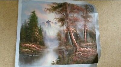Signed M. Scott oil painting on canvas forest mountains woods water