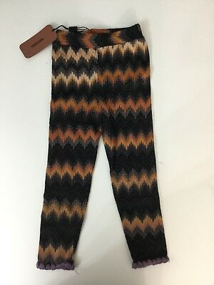 Missoni Girls Leggings Orange Brown Black Pants Knit Brand New Tags Age 2 Years