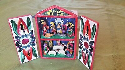 Vtg Peruvian Folk Art Clay Pottery Nativity Creche Diorama Retablo Wood Box