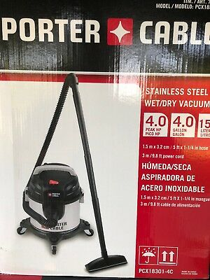 Porter Cable 4hp Stainless Steel Wet/Dry Shop Vac Vacuum & Tool Kit 4 Gallon New