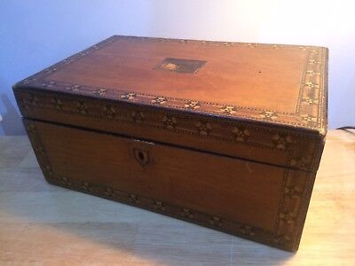 ANTIQUE WOODEN INLAID SEWING JEWELLERY BOX - needs some TLC/restoration project