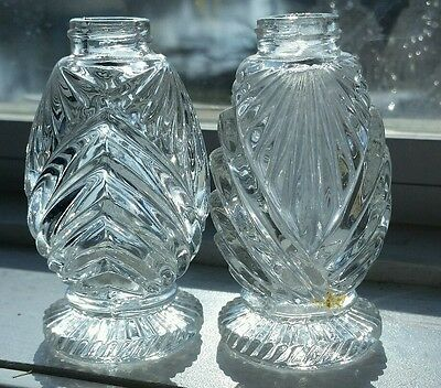 """Vintage clear pressed glass footed salt & pepper shakers, 3"""" tall (no lids)"""