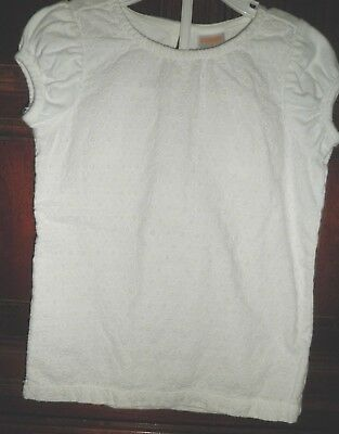 Gymboree 4 4T White Eyelet Top Short Sleeve Cotton Spring Dressy Shirt