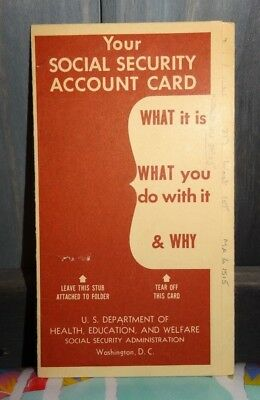 Vintage 1957 Social Security Account Card Folder Brochure Booklet