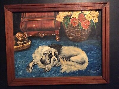 Vintage Mid Century 1967 Painting ST Saint Bernard Hand Painted On Canvas Framed