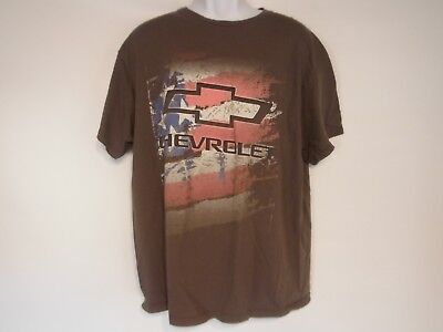 Chevrolet USA Flag Gray T-Shirt  Size XL  (W-23)