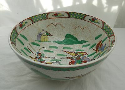 Large Chinese Hand Painted Famille Vert Fighting Warrior 25.cm Bowl Signed