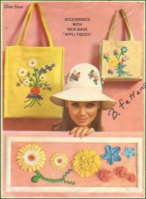 1960s Vintage Rick-Rack Flower Appli-Tiques Hat Tote Accessories Sewing Pattern