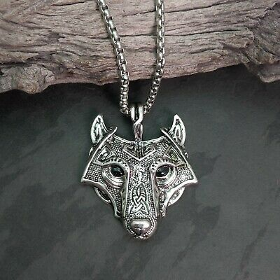 Antique Silver Tone Celtic Viking Wolf Head With Black Eyes Pendant Necklace