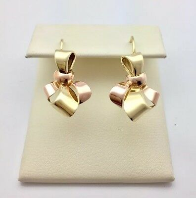 Antique Art Deco 14k Bow Earrings