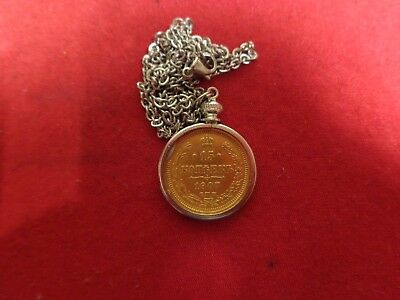 Necklace Old Russian Silver Coin Gold Plated With 18 inch Stainless Steel Chain