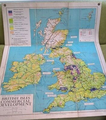 Philips Wall Map British Isles Folded Linen Backed Commercial1956