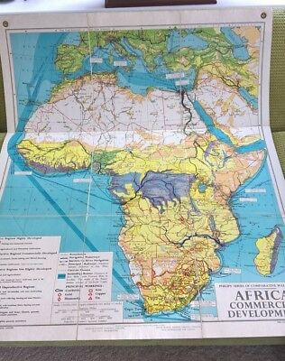 Philips Wall Map Africa Folded Linen Backed Commercial1958