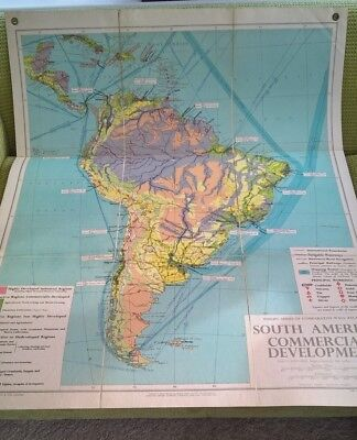 Philips Wall Map South America Folded Linen Backed Commercial 1956
