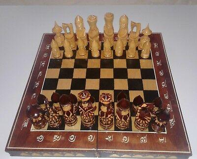 👀 UNIQUE wooden HAND MADE WOOD LARGE CHESS SET WITH BOARD handmade carved
