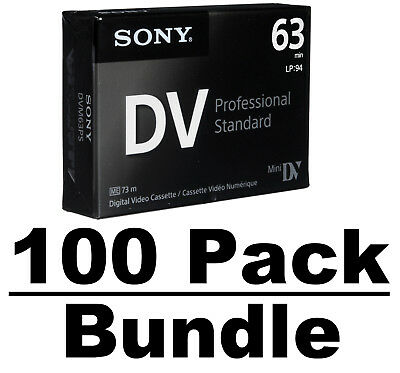Sony DVM63PS Mini DV Minidv Camcorder Video 63min Professional Tape - 100 Pack