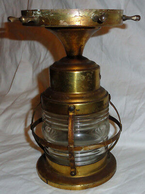 Vintage Light Fixture nautical Lantern Glass & Brass  VG original