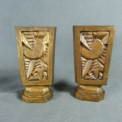Pair of Art Deco French Finials Rod End of Curtain Tiebacks Gilt Bronze Jungle