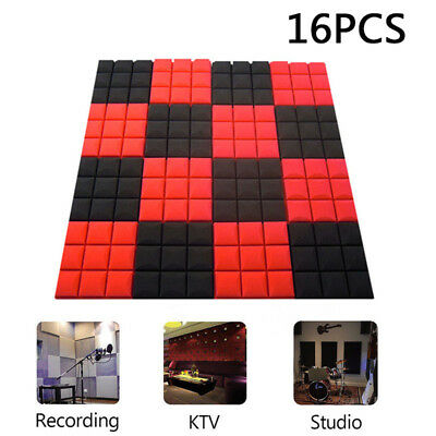 16 Pack Acoustic Foam Panel Wedge Studio Soundproofing Wall Tiles 9.8 x 9.8 x 2'