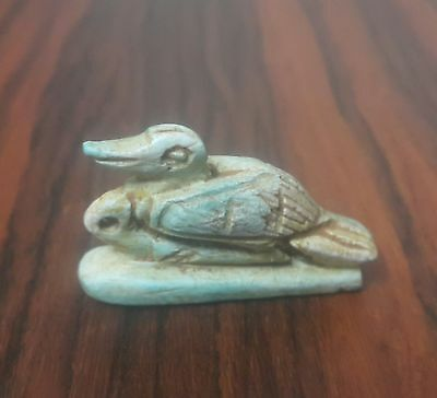 Rare Ancient Egypt Egyptian Antique FAIENCE goose Amulet late period (672–332 BC