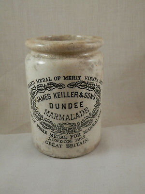 "Antique James Keiller & Sons Dundee Marmalade Jar 4.5"" Late 1800's Stoneware"